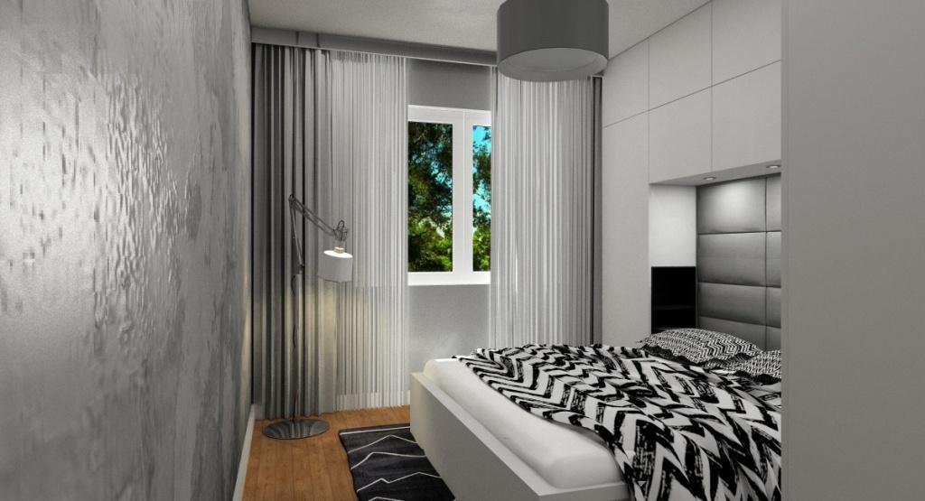 Pomysł na urządzenie sypialni, imitacja betonu na ścianie, dywan w zygzaki
