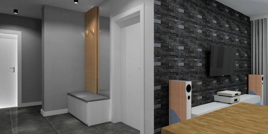 Połączenie salonu z aneksem kuchennym i holem