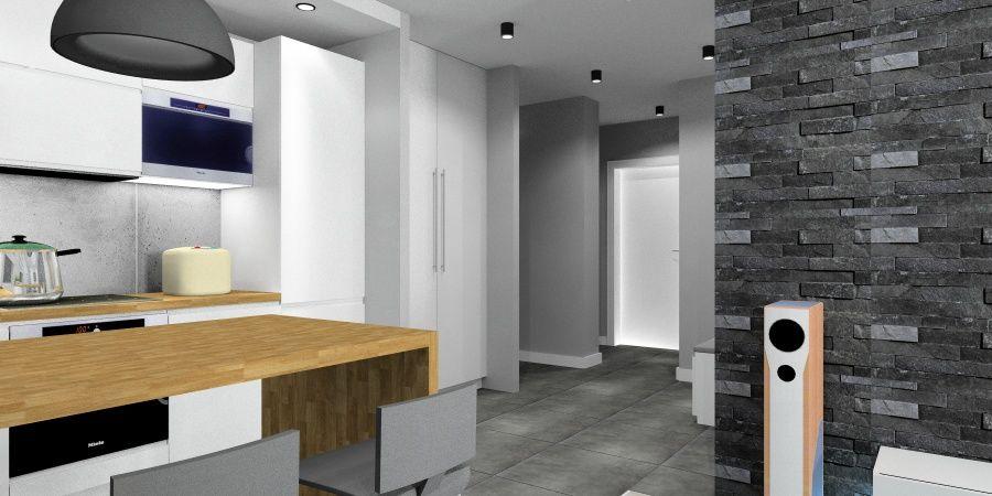 Salon z aneksem kuchennym i holem w małym mieszkaniu