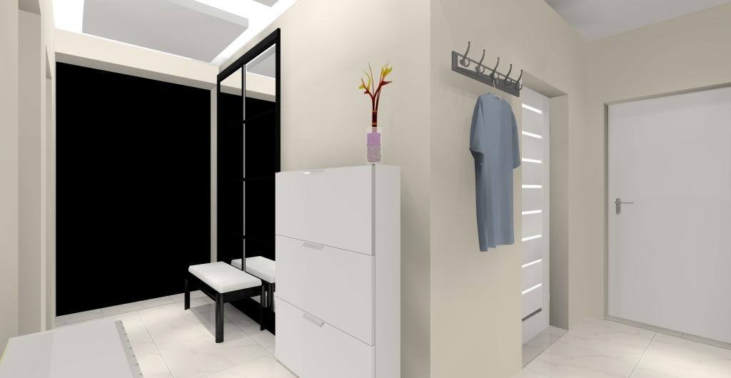 Projekt przedpokoju nowoczesnego, biały, szary, bezowy, dodatki czarne, siedzisko, lustro, szafka na buty
