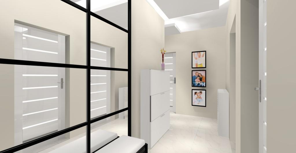 Projek nowoczesnego przedpokoju w kolorach beż, biały i czarny, elegancje wnętrze przedpokoju