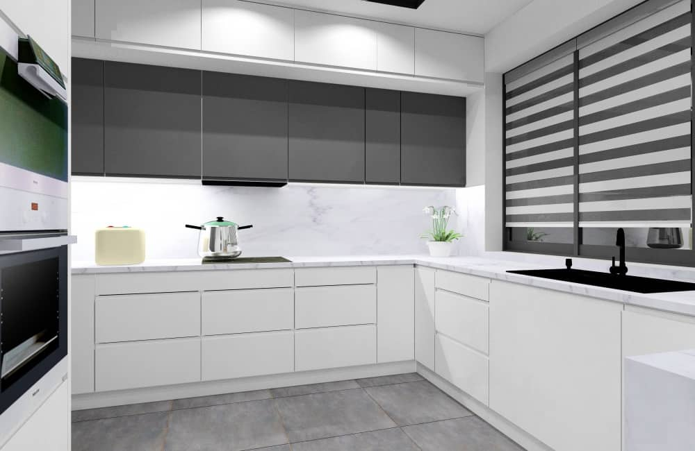 Białe meble kuchenne z dodatkiem grafitu i marmur