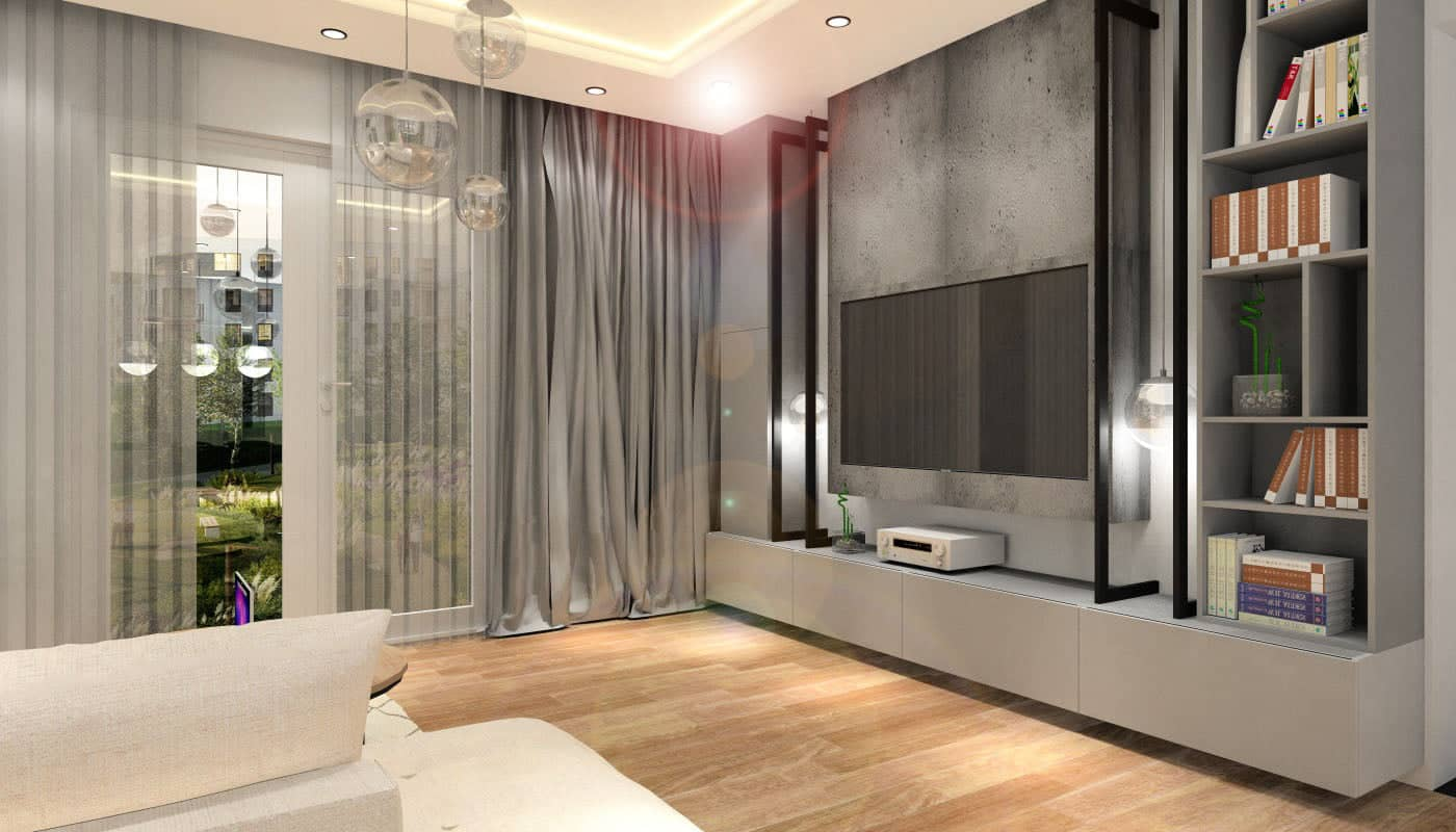 Pomysł na beton w salonie, beton na ścianie RTV