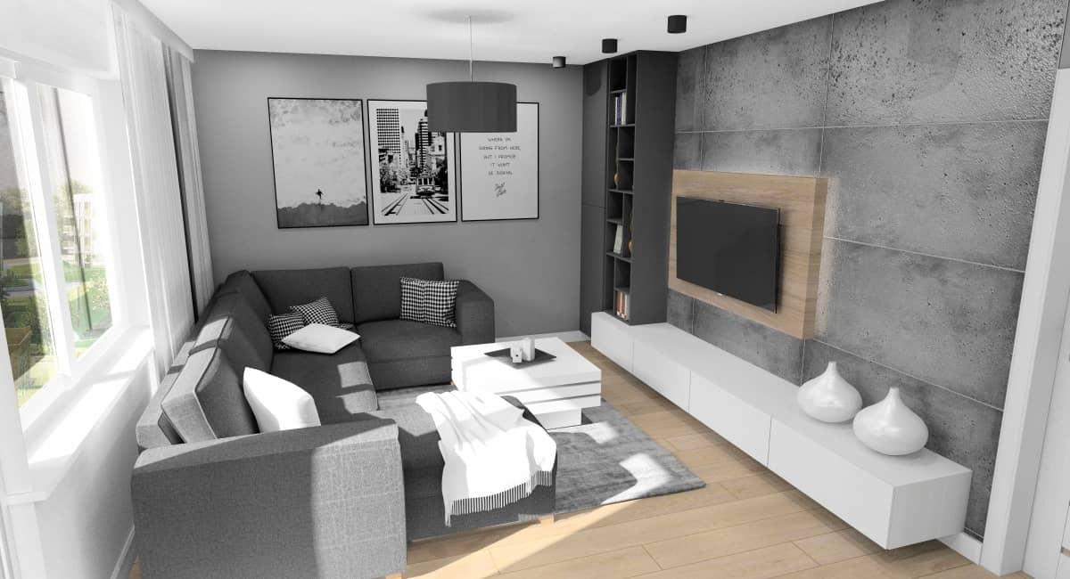 Pomysły na ścianę z betonem w salonie. Projekt wnętrz salonu