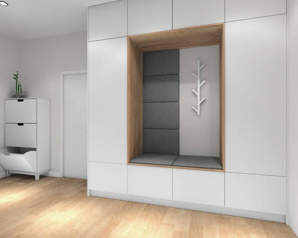 Przedpokoj, zabudowa szafy z siedziskiem, ciekawy pomysł naszego projektanta wnętrz