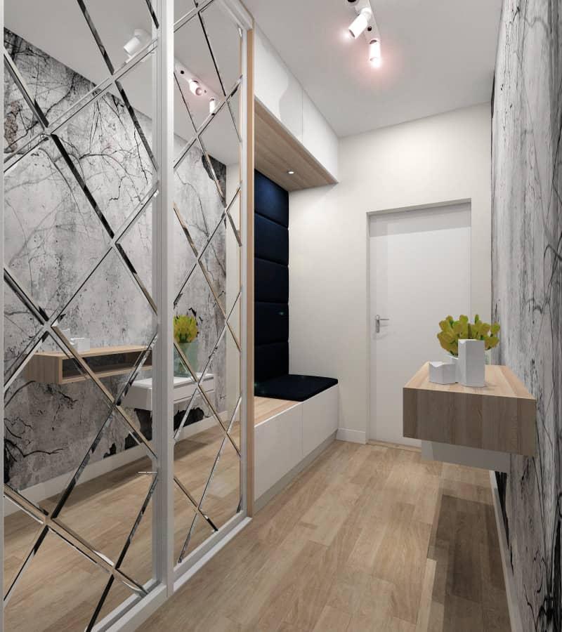 Przedpokój, zabudowa szafy z siedziskiem , pomysł projektanta wnętrz