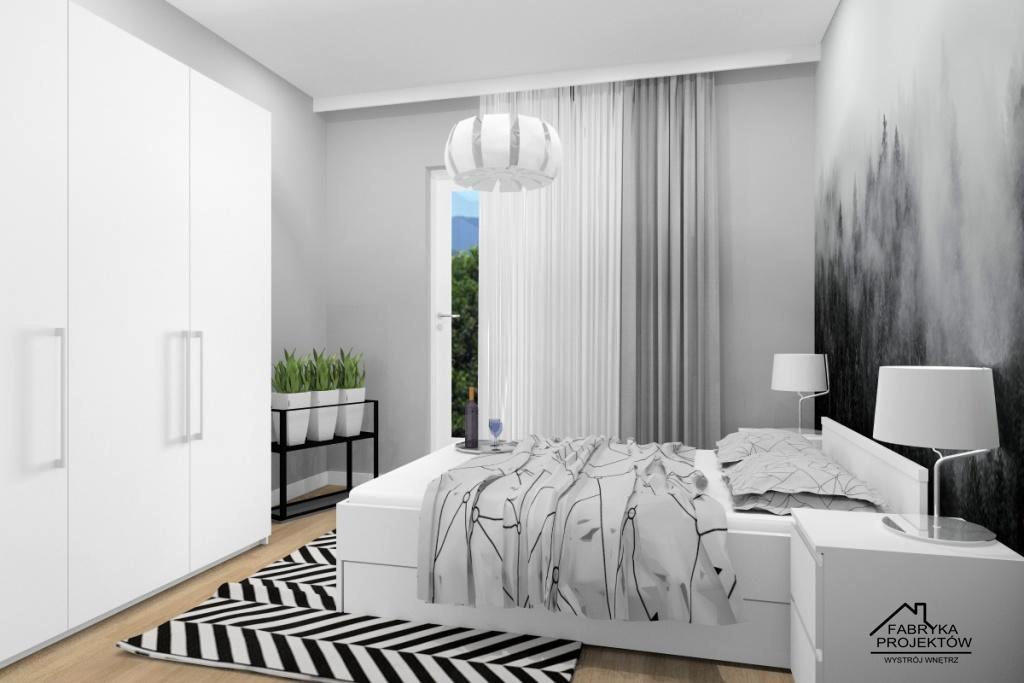 Mieszkanie na wynajem-sypialnia, aranżacja ściany nad łóżkiem tapeta z widokiem, szafa trzy drzwiowa biała