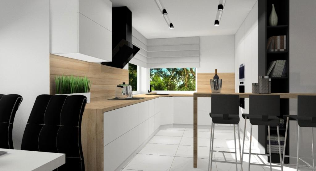 Kuchnia otwarta na salon, meble kuchenne białe, blat drewniany, barek, oświetlenie halogeny