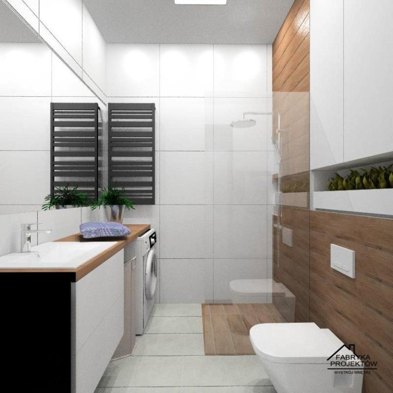 MIeszkanie na wynajem, projekt łazienki, płytki białe powiększające optycznie przestrzeń, dodatek drewna dla ocieplenia