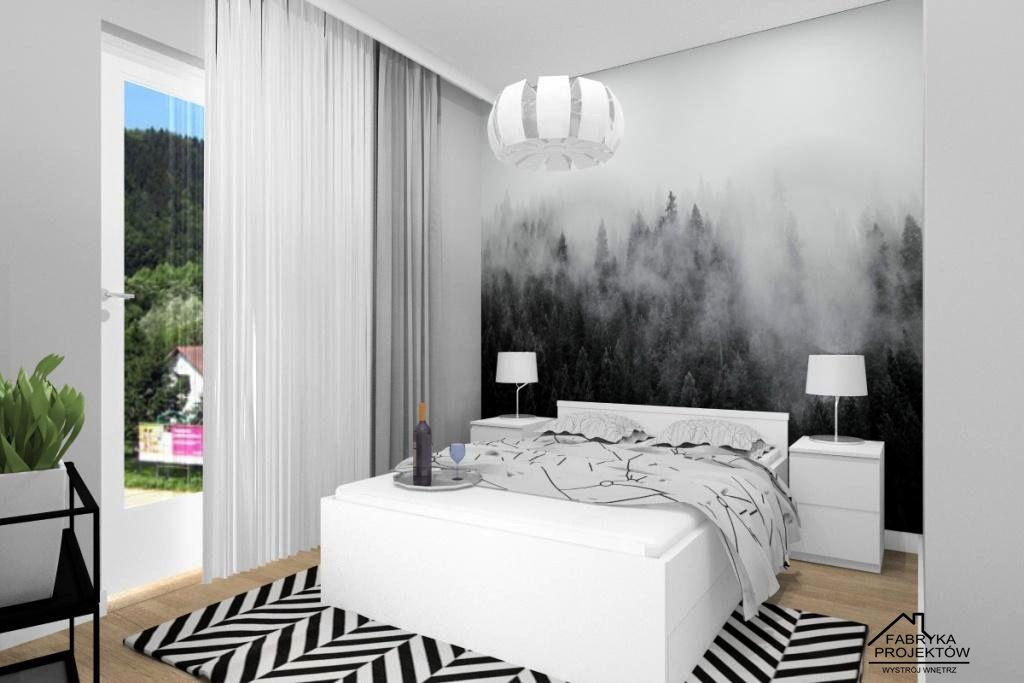 Mieszkanie na wynajem, projekt sypialni, widok na łóżko