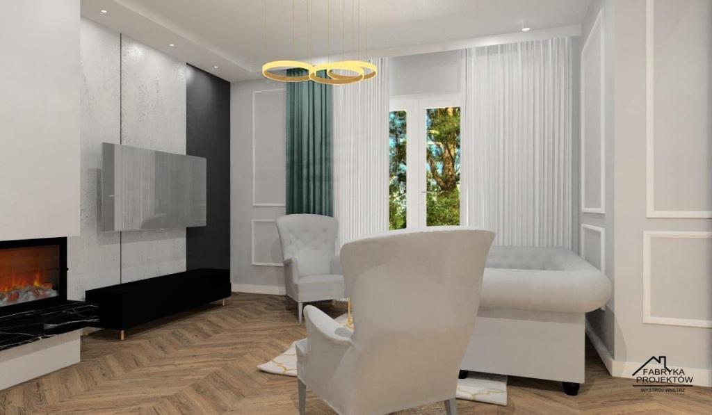Nowoczesny salon z kuchnia w stylu nowojorskim, beton na ścianie TV, zasłony miętowe, krzesła miętowe, kominek