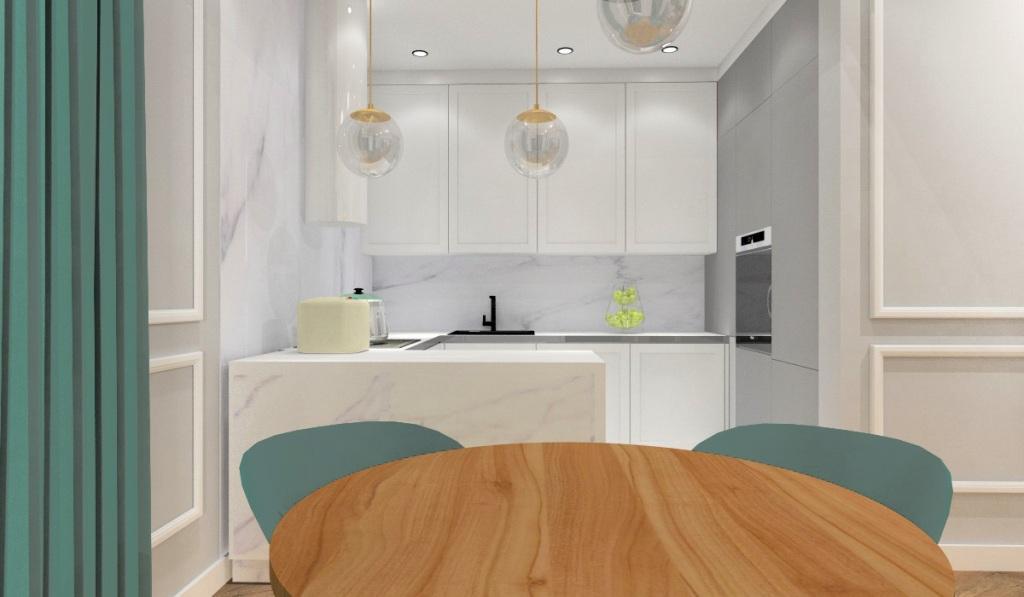 Nowoczesny salon i kuchnia: wnętrze w stylu nowojorskim, biała kuchnia, miętowe krzesła