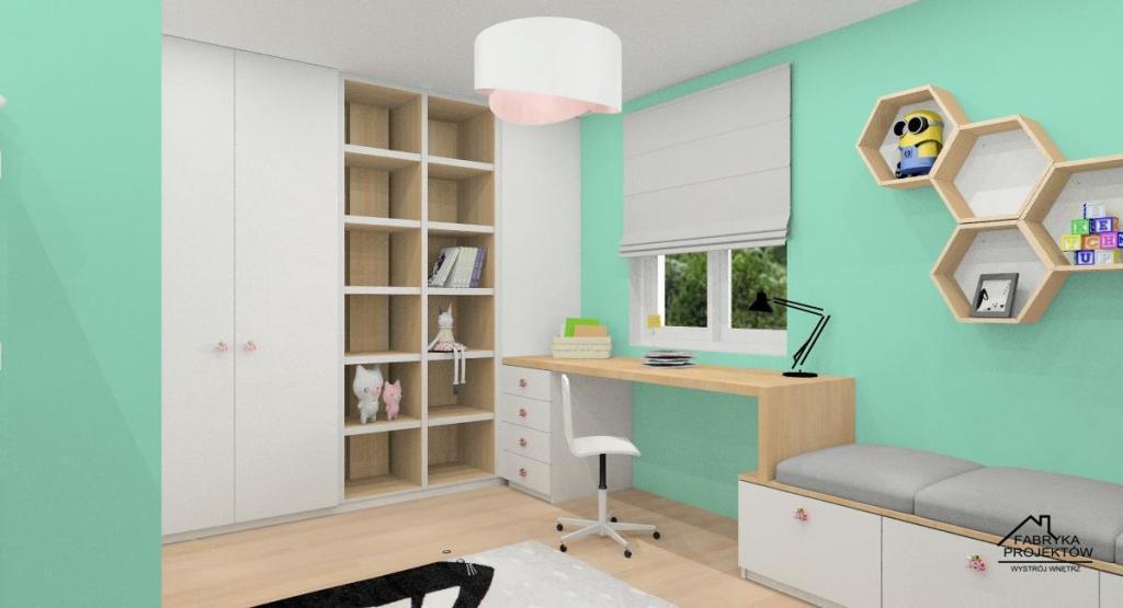 Pokój dla rodzeństwa - Pokój dla dziewczynek: biel, mięta, drewno