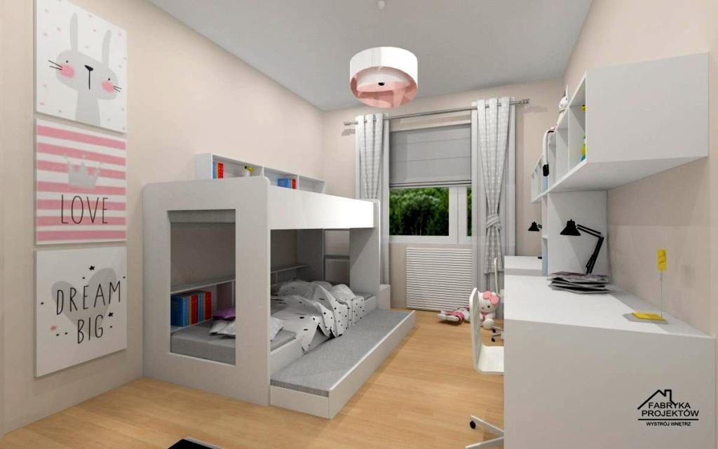 Pomysł na pokój dla trójki dzieci – dziewczynek w stonowanych beżach i szarości oraz bieli.