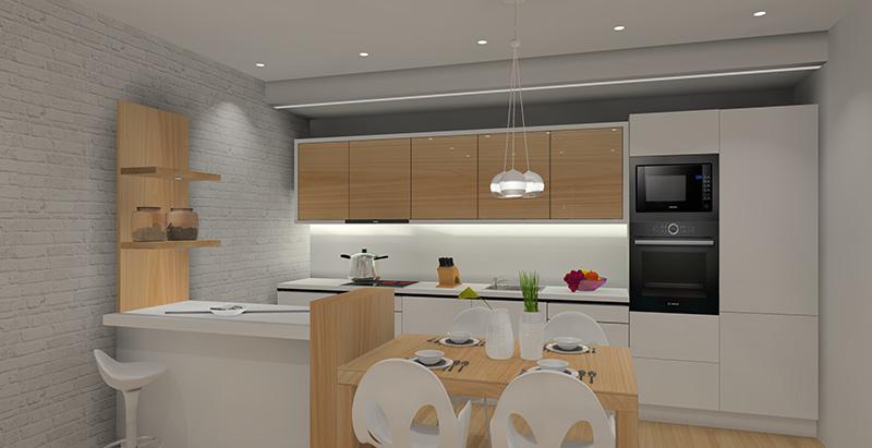 Salon i kuchnia w bieli i drewnie -> Kuchnia W Bloku W Bieli