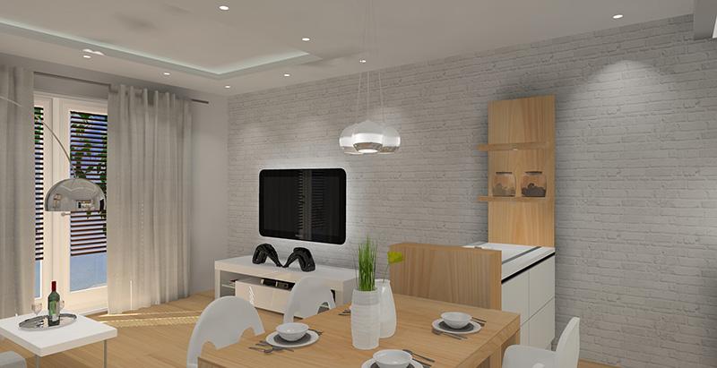 Salon i kuchnia w bieli i drewnie for Biala cegla w salonie