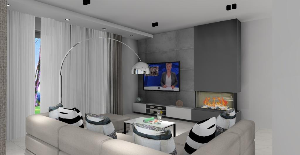 salon z kuchnią, styl nowoczesny, projekt salonu z kuchnią, szary, biału, czarny