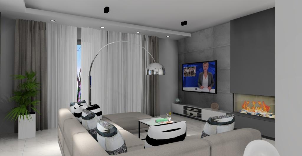 salon z kuchnią, wnetrze nowoczesne, projekt, aranżacja, biały, beton, szary, czarny