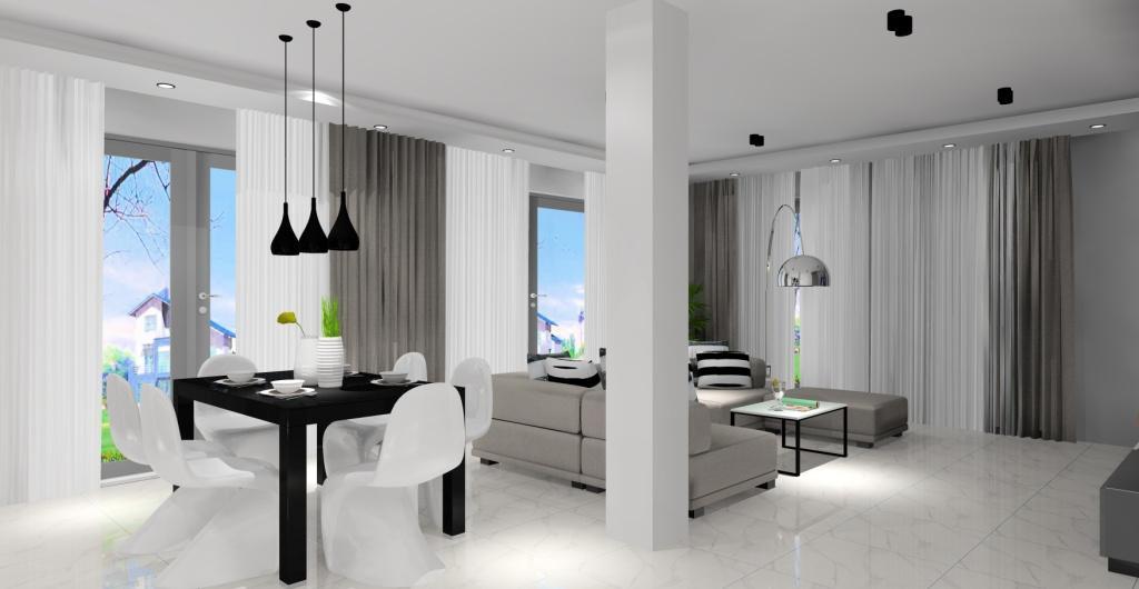 nowoczesne aranżacje, salon z kuchnią, biały szary, czarny, beton
