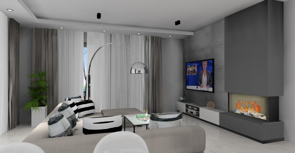 kuchnia z salonem, salon styl nowoczesny, biały, szary, beton, czarny