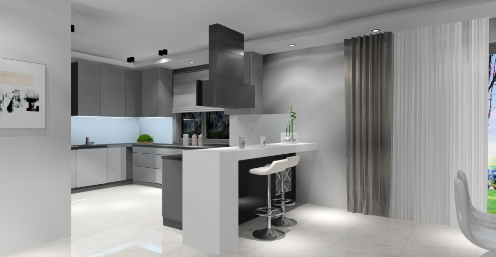kuchnia z salonem, szary, biały, czarny, styl nowoczesny
