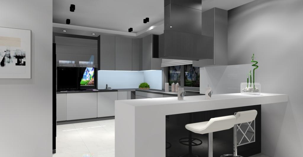 Salon z kuchnią w stylu nowoczesny, wyspa w kuchni, płyta na wyspie