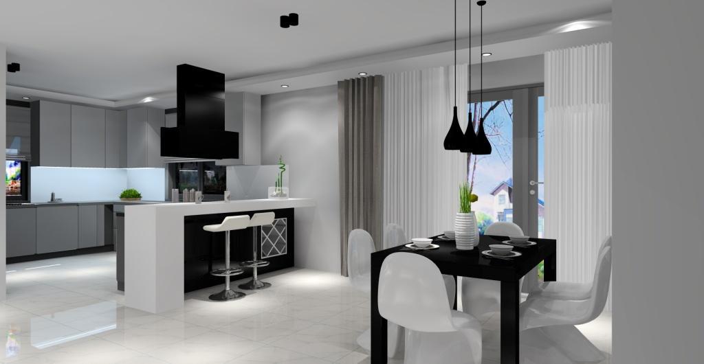 Salonz  kuchnią i jadalnią, czarny, biały, szary, czarny okap