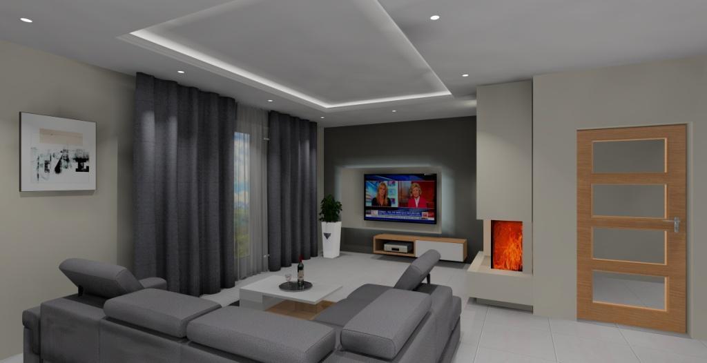 nowoczesna ściana w salonie, biel i szarość w salonie, salon z piękną kuchnią
