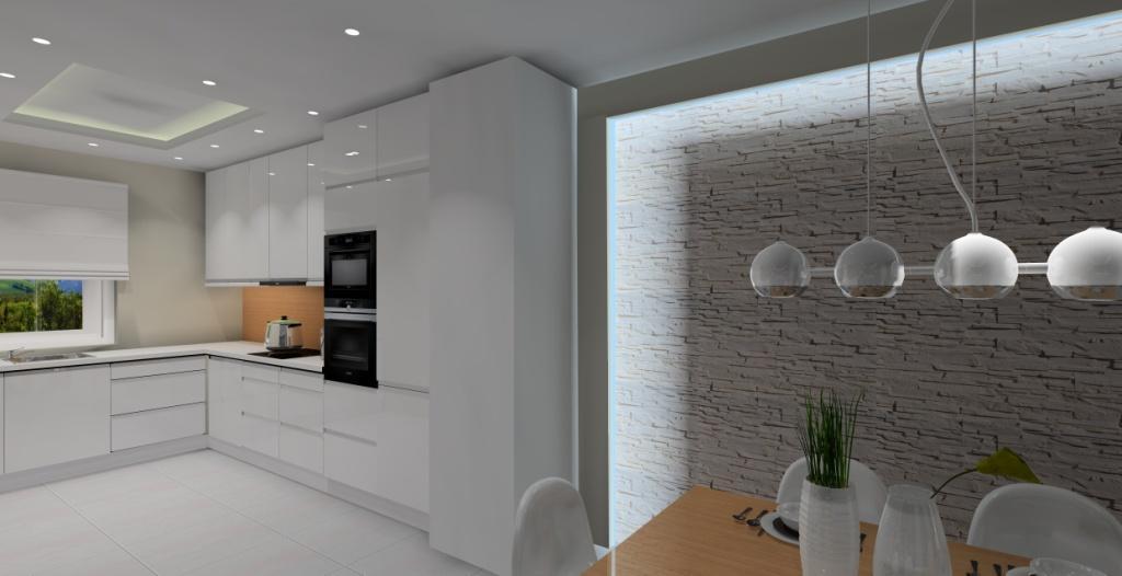 oświetlenie led na ścianie z kamienia, nowoczesne wnetrze jadalni i salonu z kuchnią