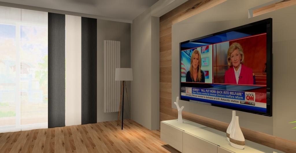 Salon z kuchnią nowoczesny, salon nowoczesny biały z drewnem