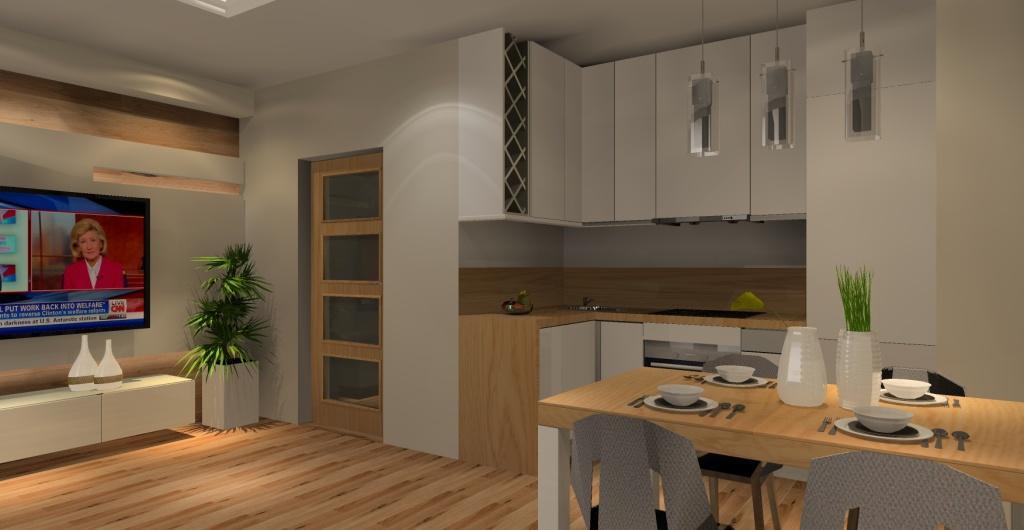 Salon z kuchnią, otwarta kuchnia na salon, kuchnia biała połączona z drewnem, salon biały z drewnem