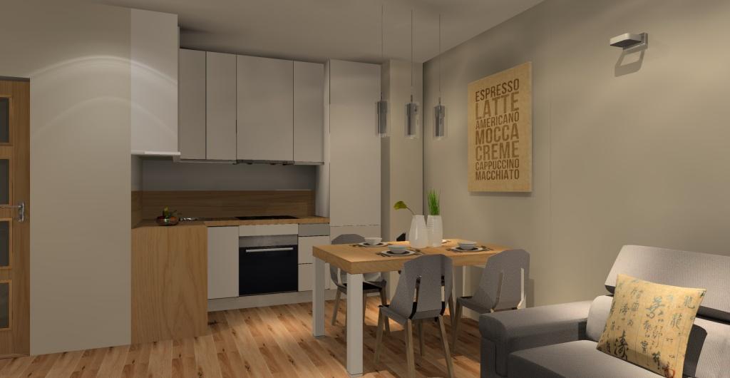 Salon z kuchnią, otwarta kuchnia na salon, nowoczesny salon z kuchnią, biała kuchnia z drewnem
