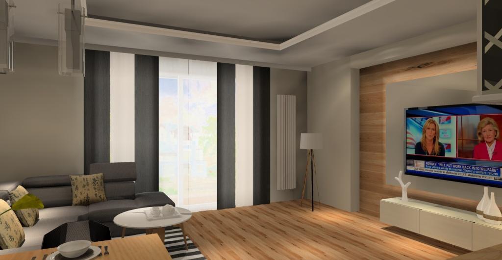 ściana telewizyjna w salonie, podświetlana ściana w salonie z telewizorem