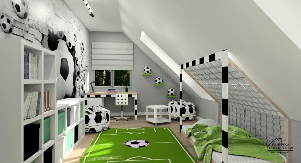Pokój dziecięcy, piłkarski, aranżacja pokoju dla chłopca, fototapeta z piłką nożną, dywan boisko, łóżko bramka, biurko bramka, zielony, biały, szary, regały, pudełka na przechowywanie