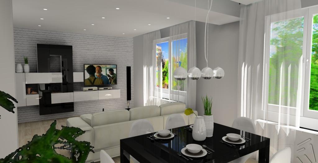 salon z jadalnią, cegła na ścianie biała