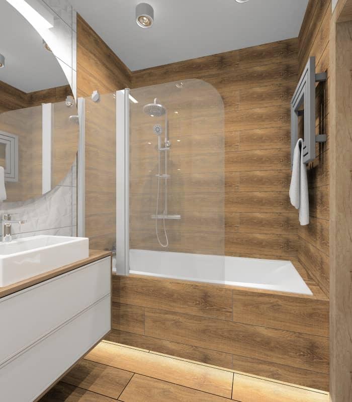 Aranżacja łazienki: drewno w nowoczesnej łazience