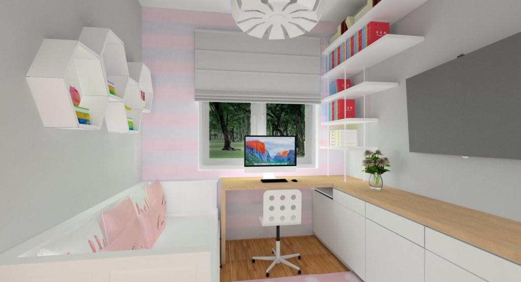 Aranżacja pokoju dla dziewczynki, szafa przesuwna, kolorysyka delikatny róż, szarość i biel, półki na książki
