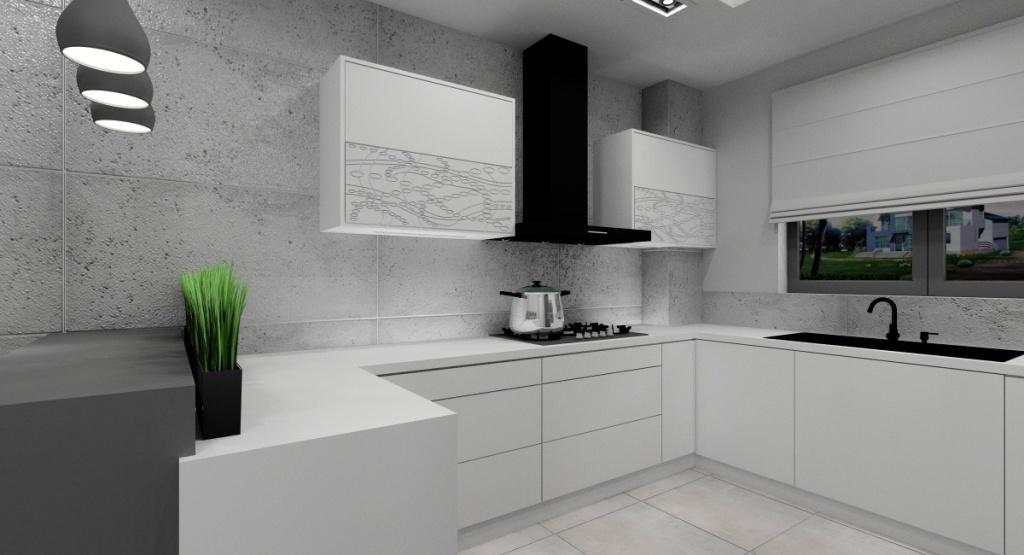Nowoczesna kuchnia – projekt wnętrza, beton na ścianie, płytki imitujące beton na podłodze, sufit podwieszany, wyspa, białe szafki kuchenne, fronty 3d w górnych szafkach
