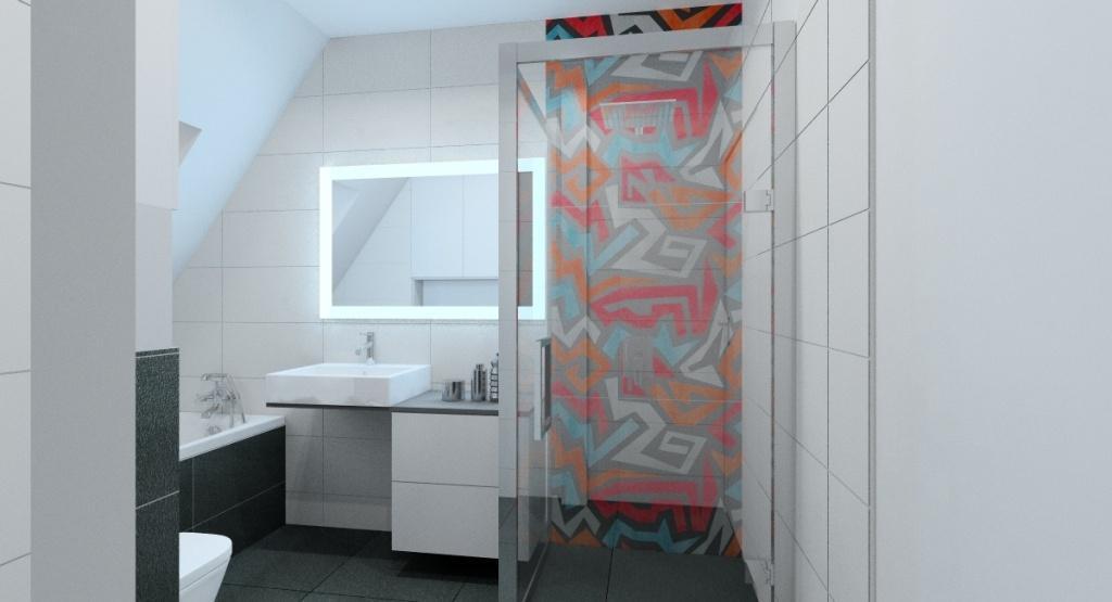 Nowoczesna łazienka, biały, szary, graffiti