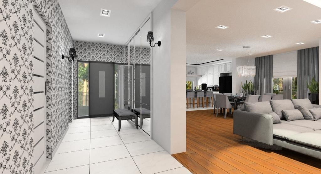 Salon z kuchnią, jadalnia i hol –wnętrze glamour