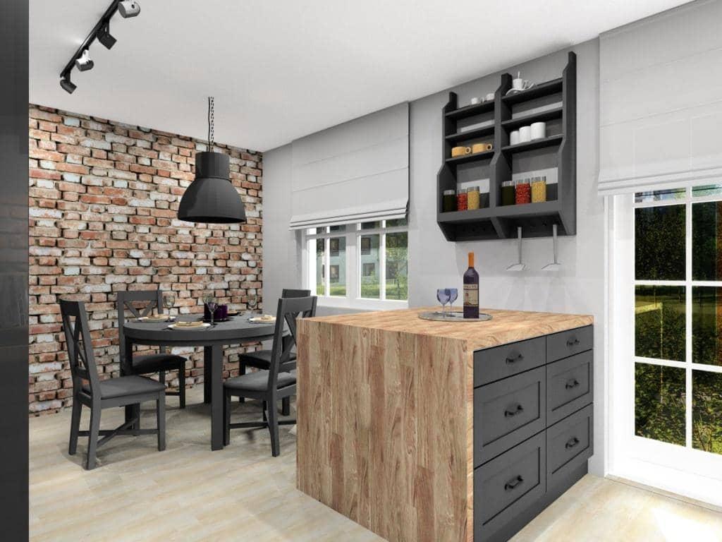 Aranżacja kuchni w kolorach szary, drewno i cegła, wyspa kuchenna w kuchni