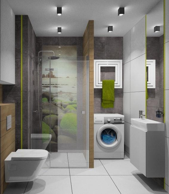 Aranżacja łazienki, łazienka z prysznicem w drewnie i grafit