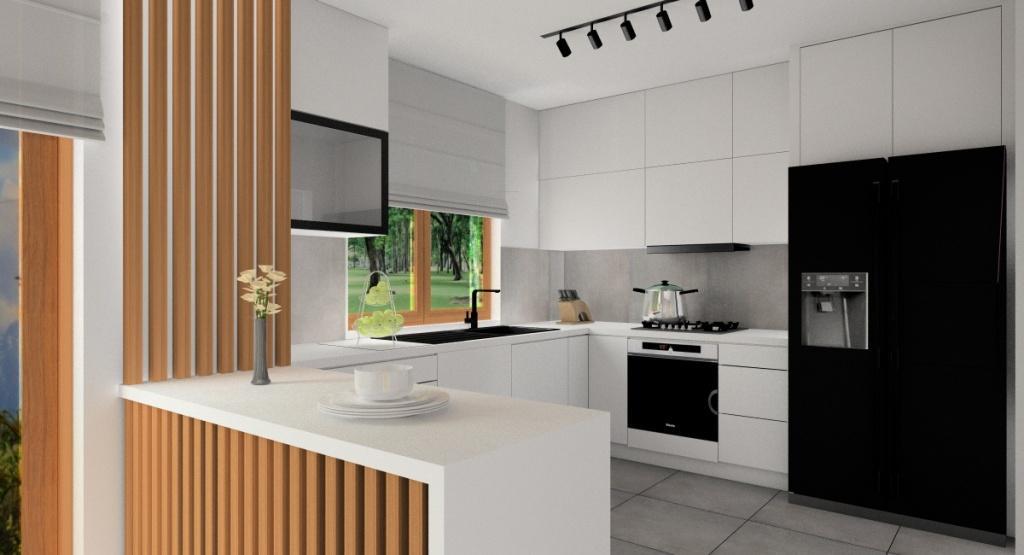 Aranżacja małej kuchni: biały, drewno, szary, czarny, wyspa w kuchni