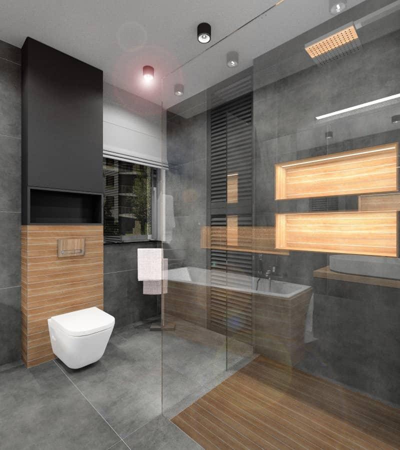 Aranżacja nowoczesnej łazienki: szarość w łazience