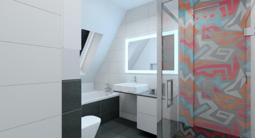 Aranżacja nowoczesnej łazienki, płytki szare, grafitowe, grafitti szkło