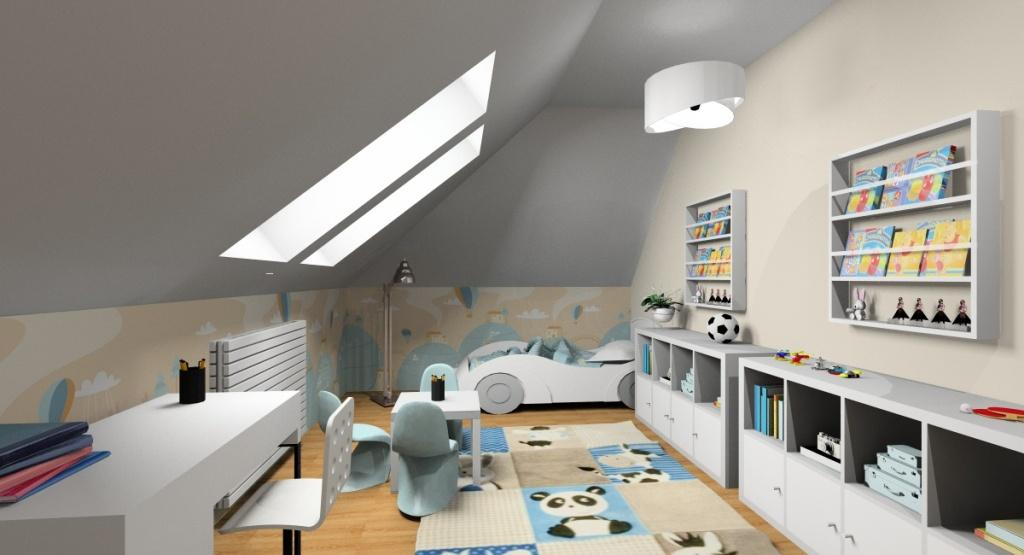 Aranżacja pokoju dla dziecka na poddaszu, jasny pokój, łóżko samochód, kolory beż z dodatkiem delikatnego niebieskiego, regały na przechowywanie zabawek