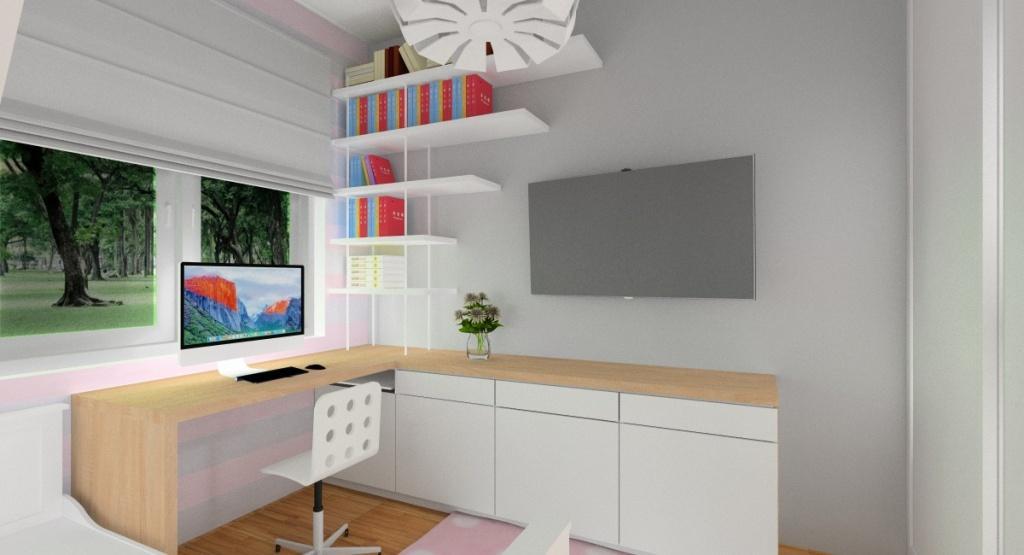Aranżacja pokoju dla dziewczyny, telewizor w pokoju, komoda biała, tapeta różowo szara