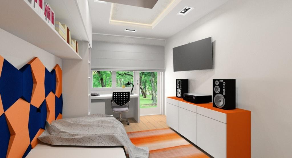 Aranżacja pokoju młodzieżowego dla nastolatka, wnętrze w kolorze biały, szary, pomarańcz