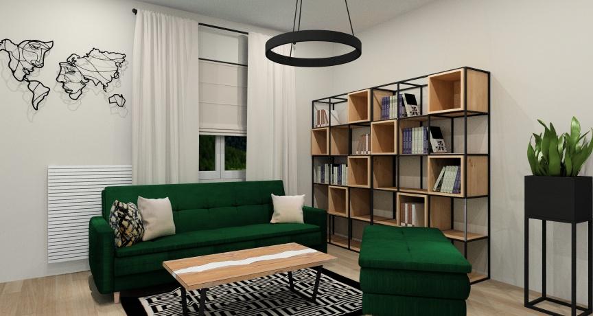 Aranżacja salonu industrialnego z sofą w kolorze butelkowej zieleni, drewnem i czernią