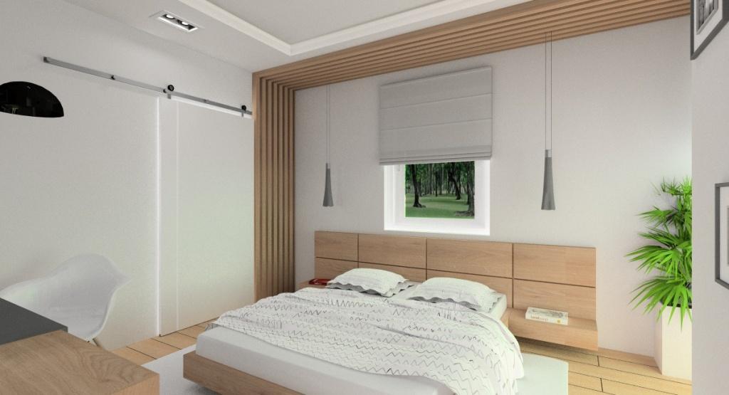Aranżacja sypialni, sypialnia w kolorach szary i biały, duże łózko drewniane, sufit podwieszany, łóżko pod oknem